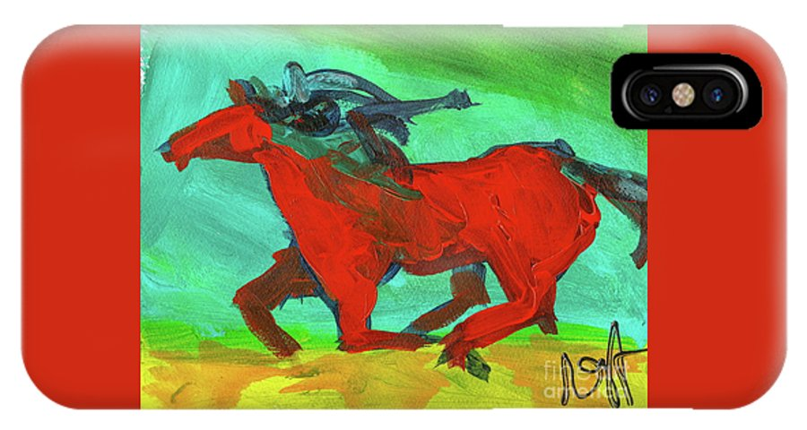 Horse IPhone X Case featuring the painting Painted Ponies - Spirit Rider by Roxanne Fawcett