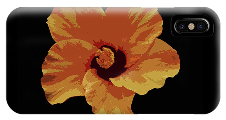 Black IPhone X Case featuring the photograph Painter Hibiscus by Mike Mullins