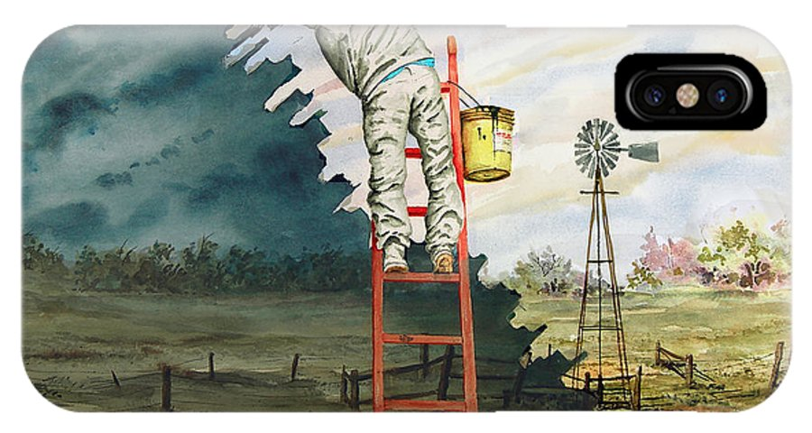 Landscape IPhone X Case featuring the painting Paintin Up A Storm by Sam Sidders