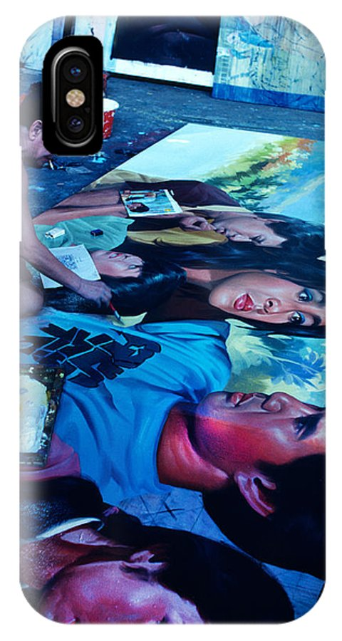 Man IPhone X / XS Case featuring the photograph Painting Faces On The Floor by Carl Purcell