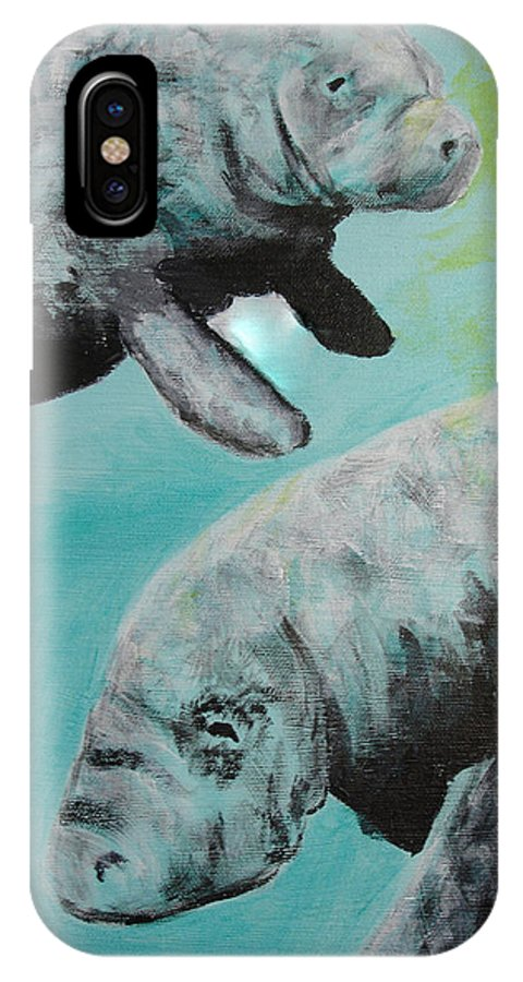 Florida IPhone X Case featuring the painting Pair Of Florida Manatees by Susan Kubes