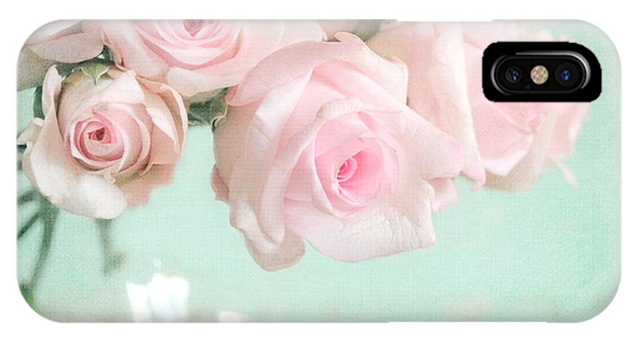 Pink IPhone X Case featuring the photograph Pale Pink Roses by Lyn Randle