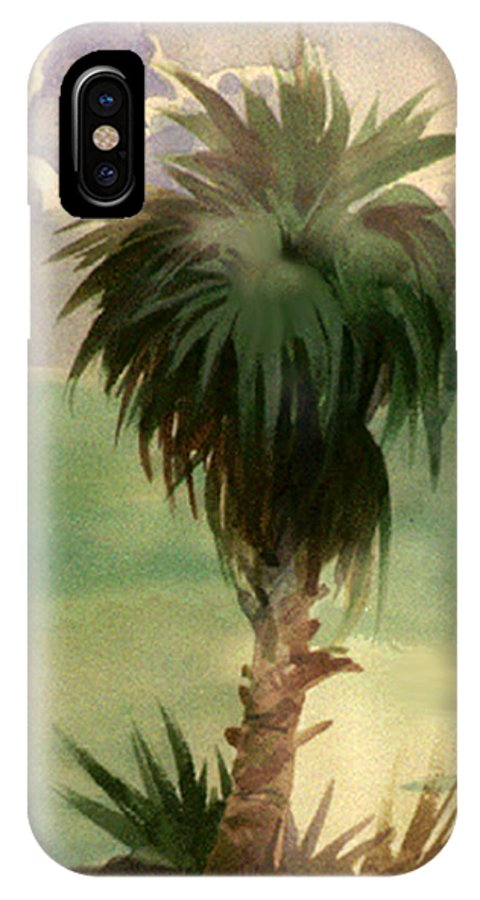 Palm IPhone Case featuring the painting Palm At Horseshoe Cove by Neal Smith-Willow