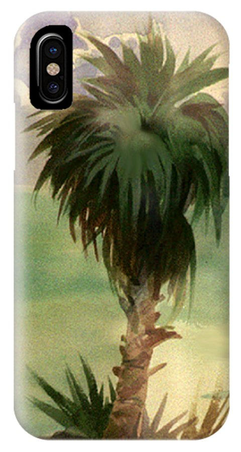 Palm IPhone X Case featuring the painting Palm At Horseshoe Cove by Neal Smith-Willow