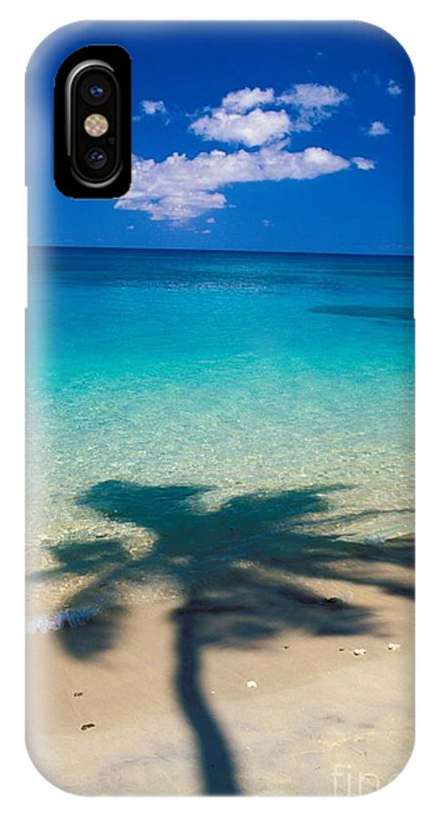 Aqua IPhone X Case featuring the photograph Palm Shadows by Ron Dahlquist - Printscapes