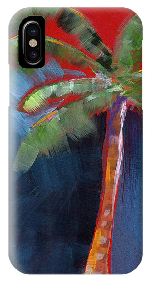 Palm Tree IPhone X Case featuring the painting Palm Tree- Art By Linda Woods by Linda Woods