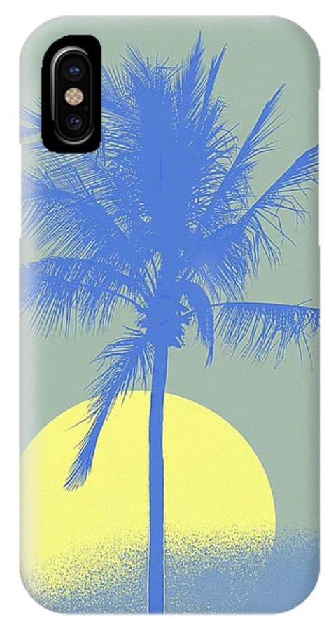 Palm Tree IPhone X Case featuring the digital art Palm Tree Blue Sun Setting by Philip Okoro