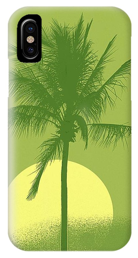 Palm Tree IPhone Case featuring the digital art Palm Tree Green Sun Setting by Philip Okoro