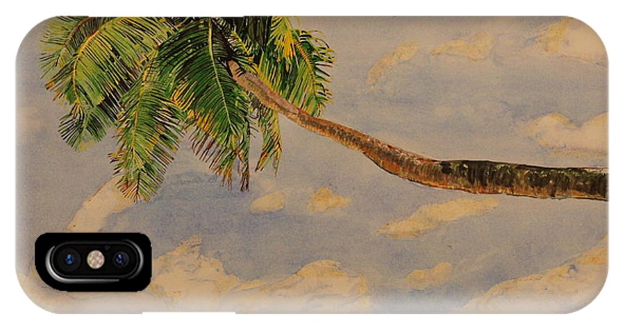 Palm Tree IPhone X Case featuring the painting Palm Tree by Michelle Miron-Rebbe