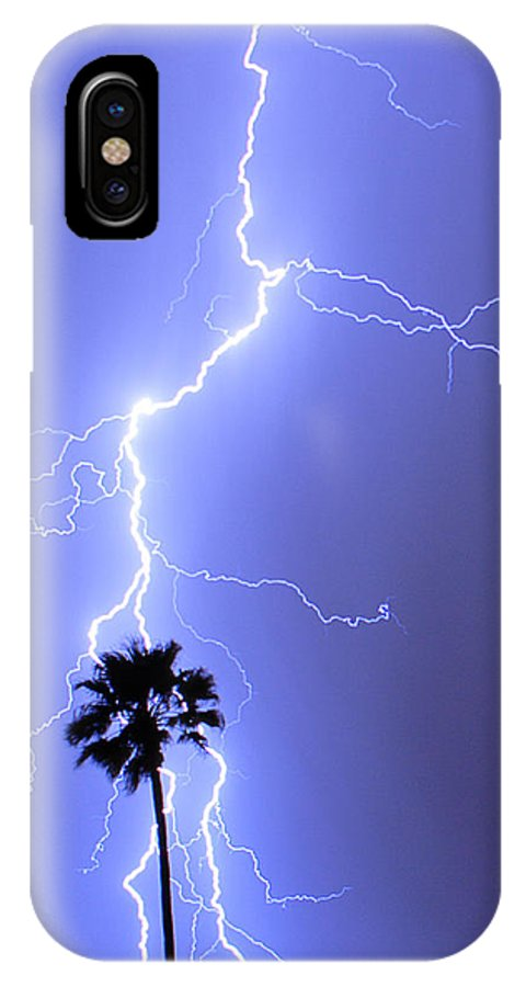 Lightning IPhone X Case featuring the photograph Palm Tree On Strike by James BO Insogna