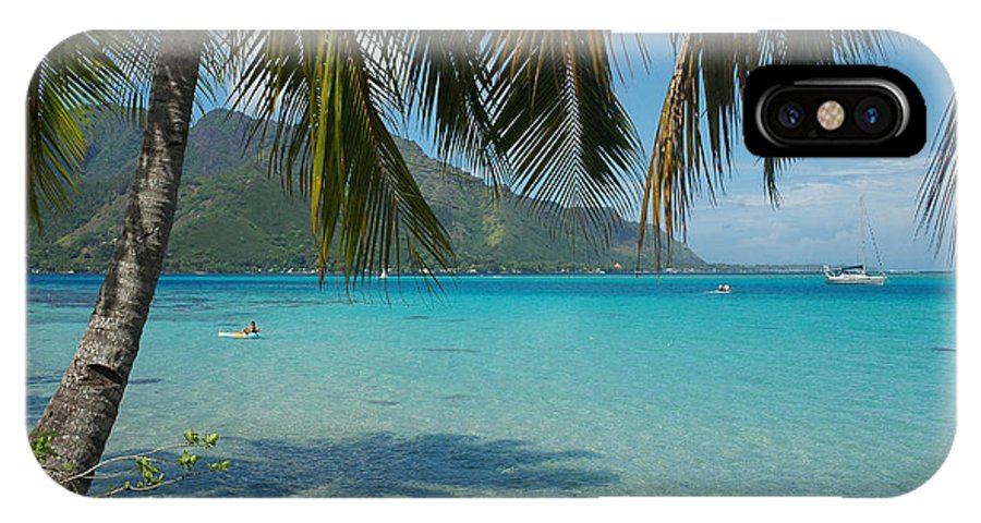 Moorea IPhone X Case featuring the photograph Palm Trees Cast A Shadow In Blue Water by Hibberd, Shannon