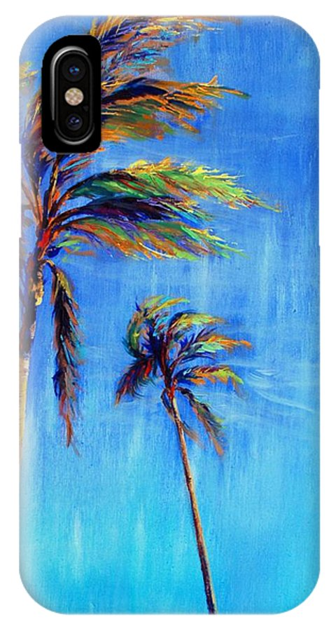 Landscape IPhone Case featuring the painting Palmas Viento by Lynee Sapere