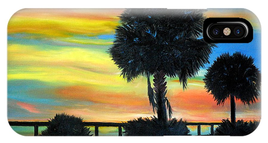 Palmetto IPhone X Case featuring the painting Palmetto Nights by Phil Burton