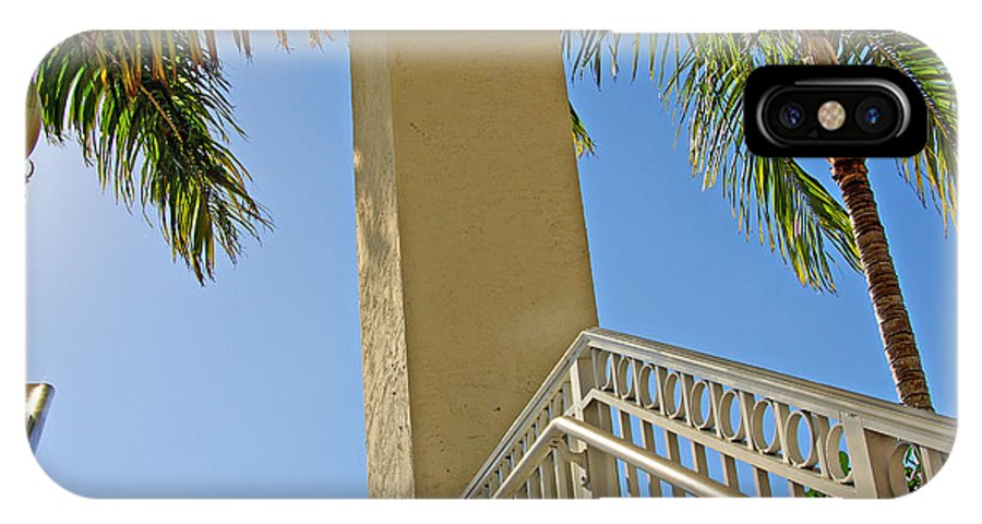 Palm IPhone X Case featuring the photograph Palms And Stairs by Zal Latzkovich