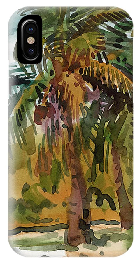 Palm Tree IPhone X Case featuring the painting Palms In Key West by Donald Maier