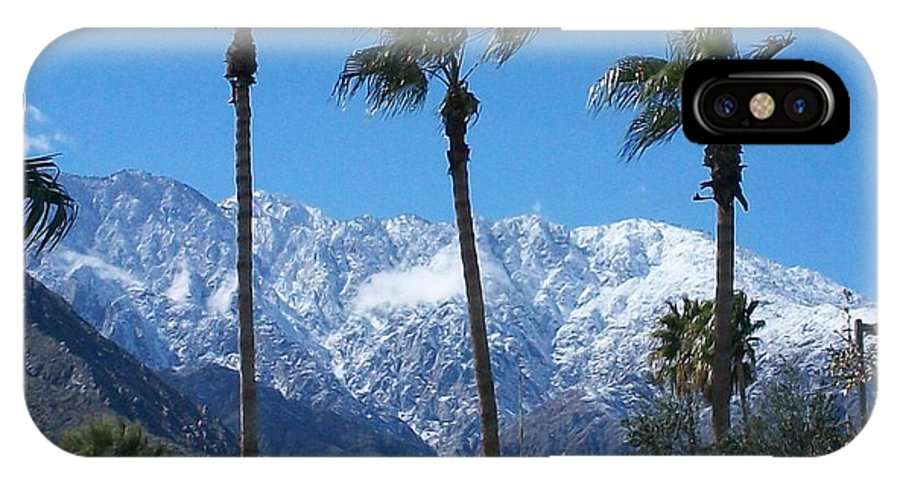 Palms IPhone X Case featuring the photograph Palms With Snow by Randall Weidner