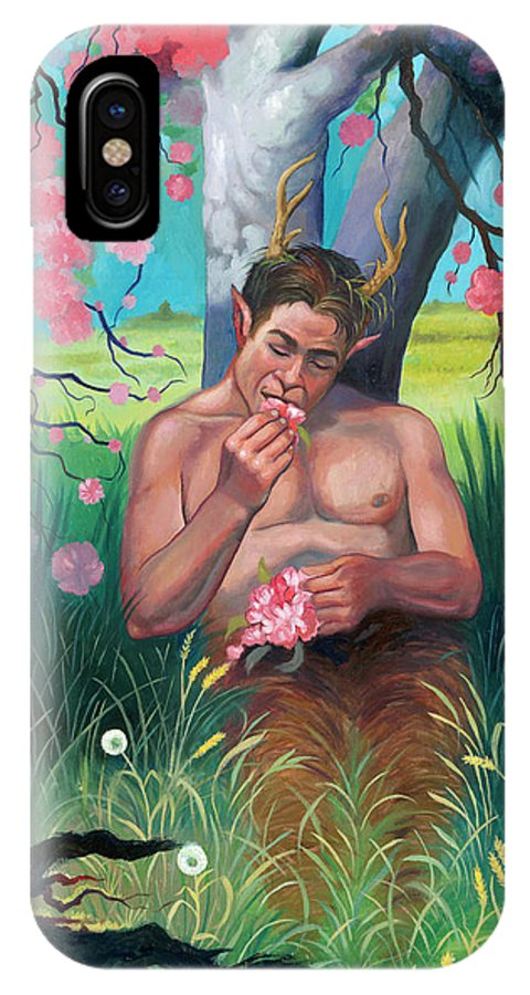 Spring IPhone X Case featuring the painting Pan Eating Lunch by Natasha Robinson