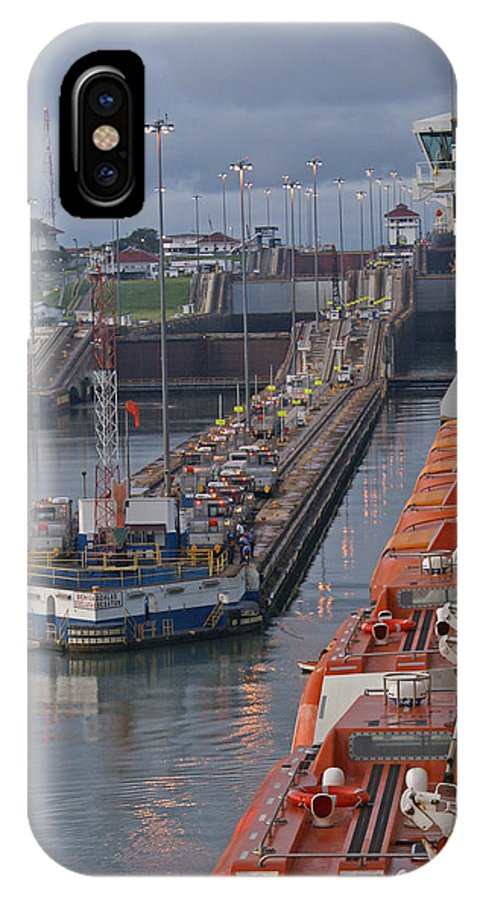 Panama IPhone X Case featuring the digital art Panama Canal by Heather Coen