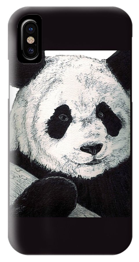 Panda IPhone X Case featuring the painting Panda by Debra Sandstrom