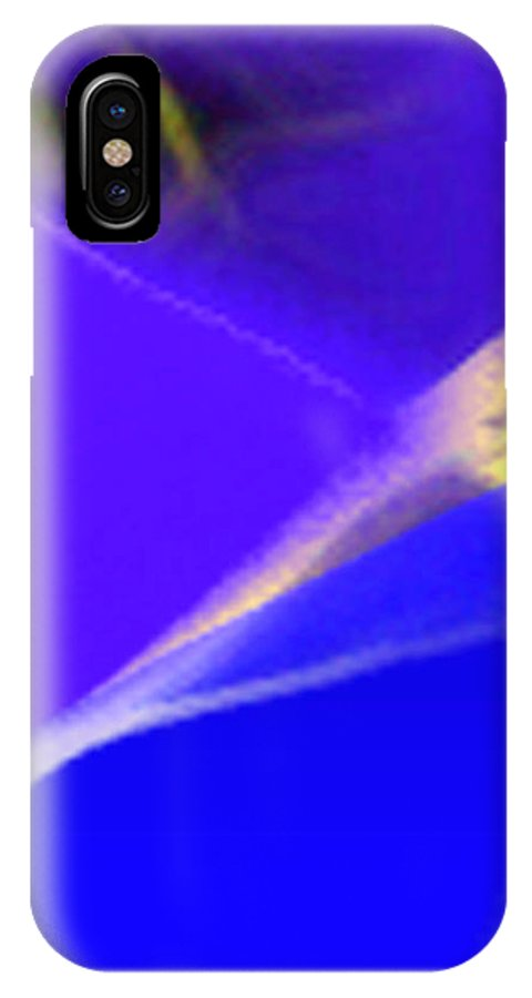 Abstract IPhone X Case featuring the digital art panel three from Movement in Blue by Steve Karol