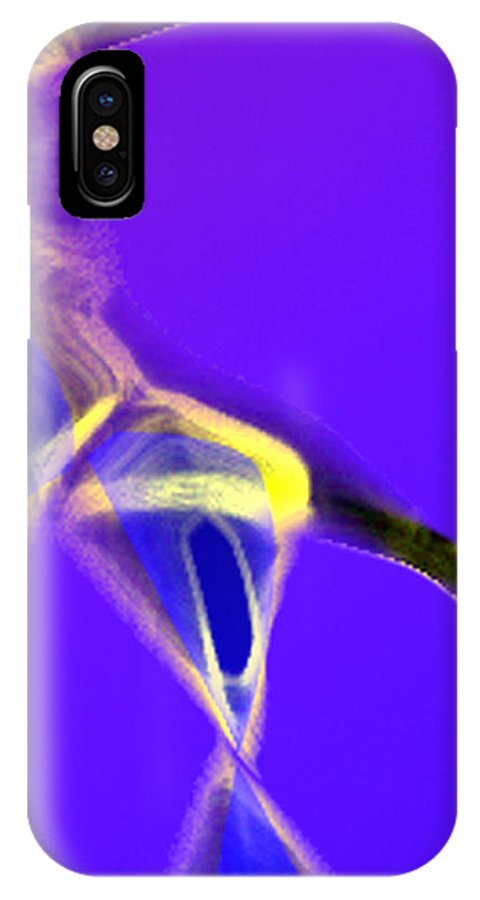 Abstract IPhone X Case featuring the digital art panel two from Movement in Blue by Steve Karol
