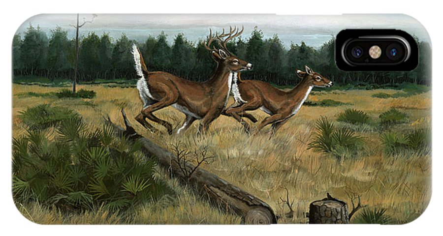 Whitetail Deer IPhone Case featuring the painting Panhandle Deer by Timothy Tron