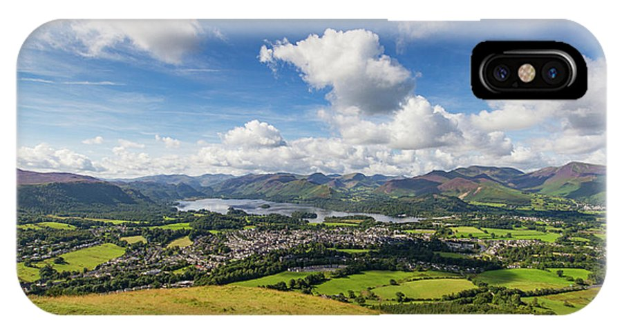 Cumbria Lake District IPhone X Case featuring the photograph Panorama Of Keswick And Lake Derwent Water Panorama From Latrigg by Iordanis Pallikaras