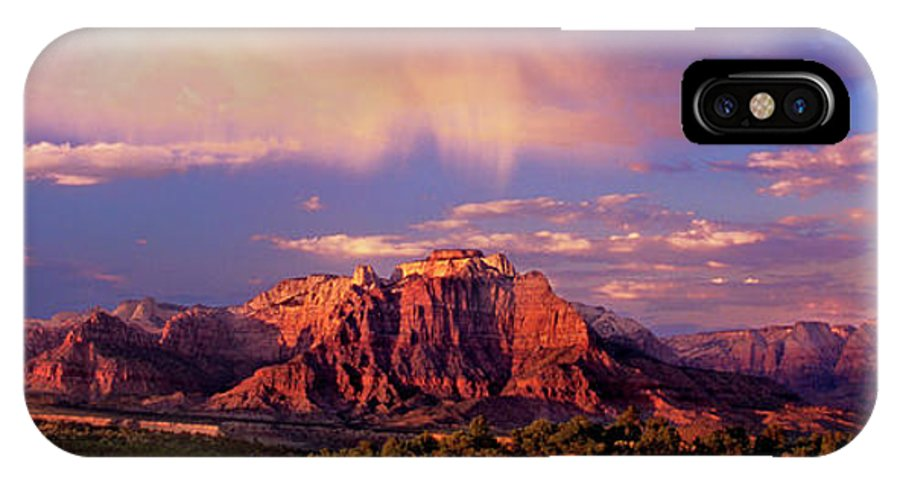 North America IPhone X Case featuring the photograph Panorama West Temple At Sunset Zion Natonal Park by Dave Welling