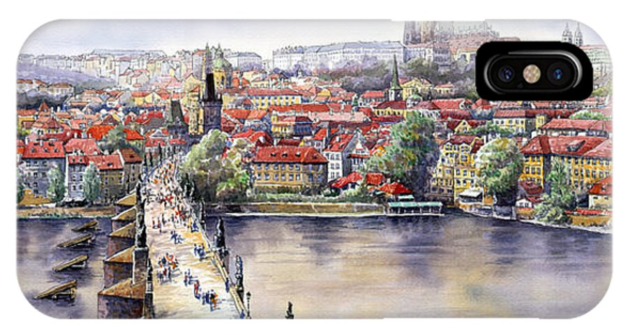 Watercolour IPhone X Case featuring the painting Panorama With Vltava River Charles Bridge And Prague Castle St Vit by Yuriy Shevchuk