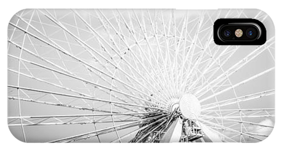 America IPhone X / XS Case featuring the photograph Panoramic Chicago Ferris Wheel In Black And White by Paul Velgos