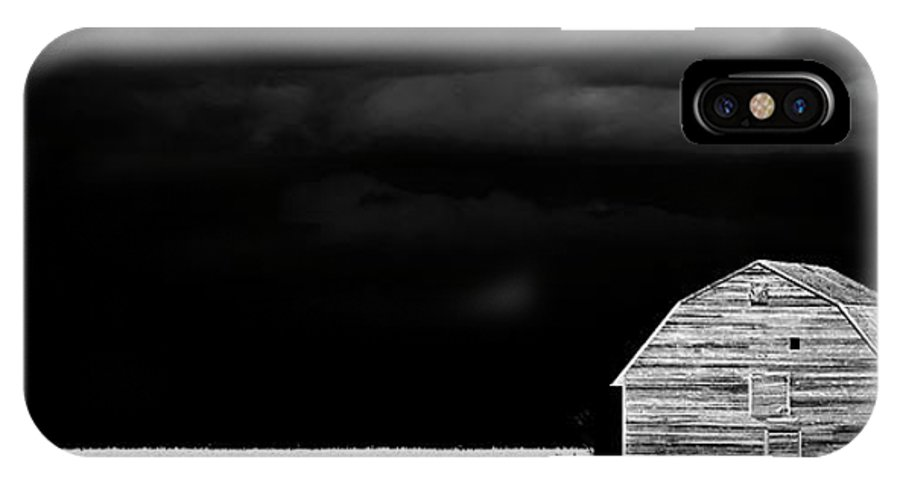 IPhone X Case featuring the photograph Panoramic Prairie Storm And Barn by Mark Duffy