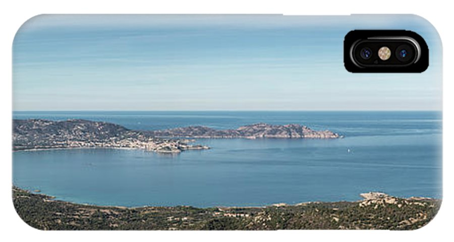 Ancient IPhone X Case featuring the photograph Panoramic View Across Calvi Bay And Revellata In Corsica by Jon Ingall