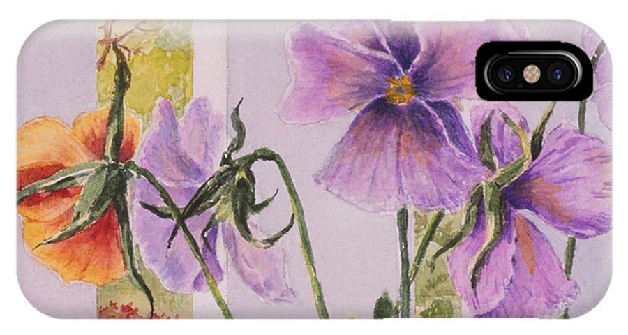 Florals IPhone X Case featuring the painting Pansies On My Porch by Mary Ellen Mueller Legault
