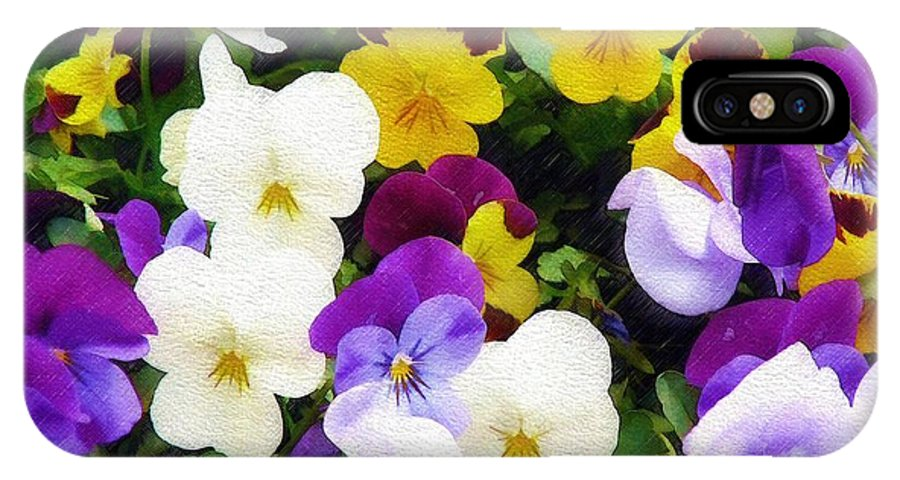 Pansies IPhone X Case featuring the photograph Pansies by Sandy MacGowan