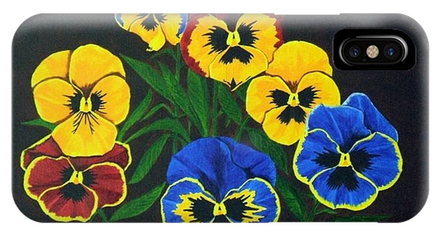 Pansies IPhone X Case featuring the painting Pansy Lions by Brandy House