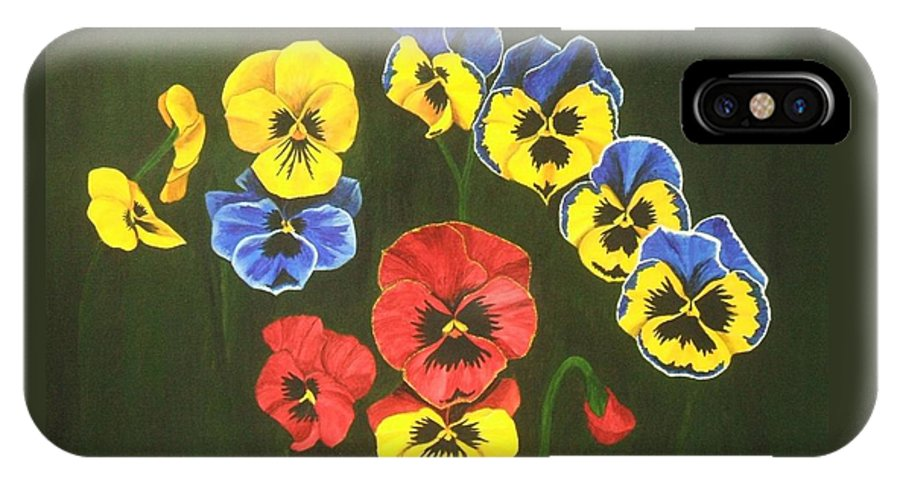 Pansy Flowers IPhone X Case featuring the painting Pansy Lions Too by Brandy House