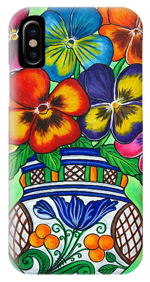 Flower IPhone X Case featuring the painting Pansy Parade by Lisa Lorenz