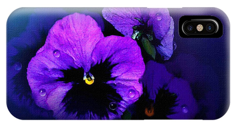 Pansy IPhone X Case featuring the painting Pansys by Robert Foster