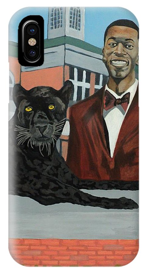 Black IPhone X Case featuring the painting Panther Pride by Angelo Thomas