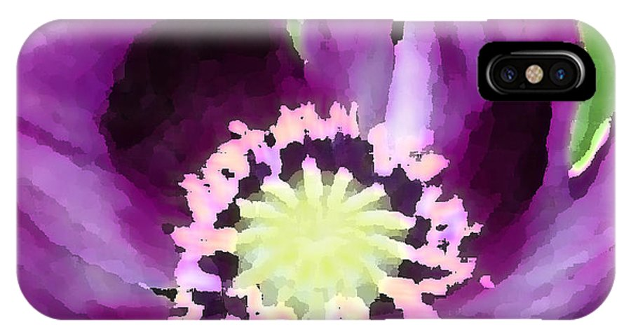 Purple IPhone X Case featuring the photograph Papaver Somniferum by Suzanne Shepherd