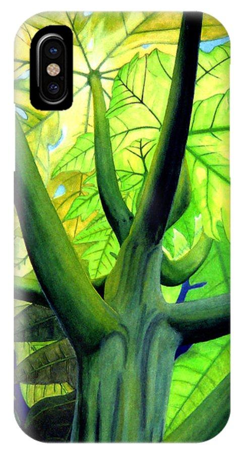 Papaya Tree IPhone X Case featuring the painting Papaya Tree by Kevin Smith
