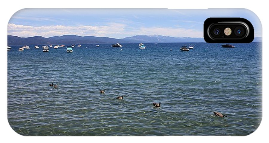 Lake Tahoe IPhone X Case featuring the photograph Parade Of Geese by Carol Groenen