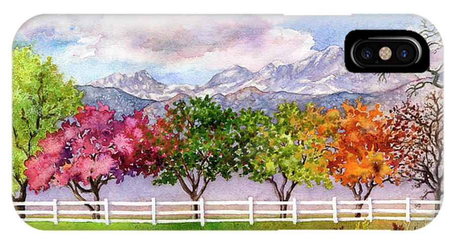 Trees Painting IPhone X Case featuring the painting Parade Of The Seasons by Anne Gifford