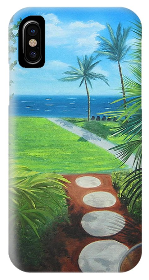 Seascape IPhone X Case featuring the painting Paradise Beckons by Lea Novak