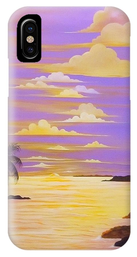 Seascape IPhone X Case featuring the painting Paradise Dreams by Carol Sabo