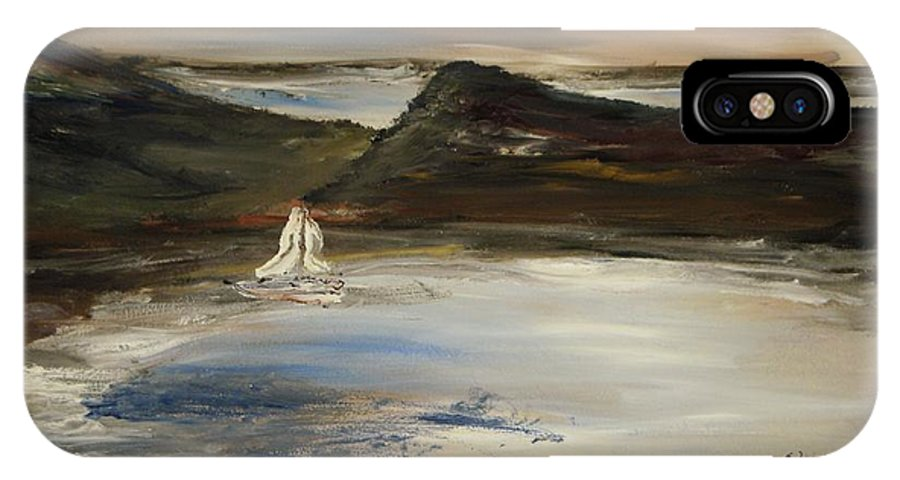 Landscape IPhone X Case featuring the painting Paradise In The Evening by Edward Wolverton