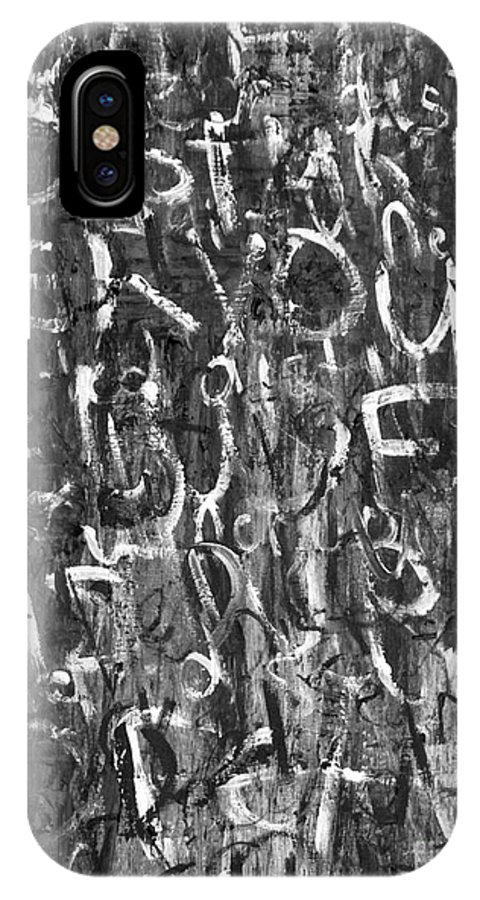 Text Expressionism Painting IPhone X Case featuring the painting Paranoid by Roseanne Jones