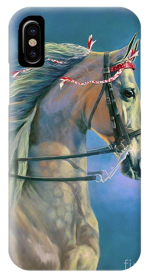 Horse IPhone X Case featuring the painting Paranormal by Jeanne Newton Schoborg