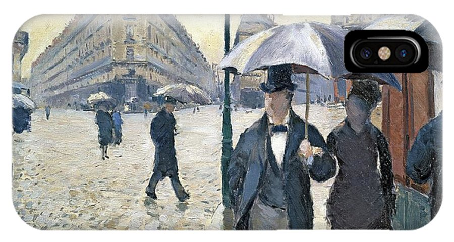 Sketch IPhone X Case featuring the painting Paris A Rainy Day by Gustave Caillebotte