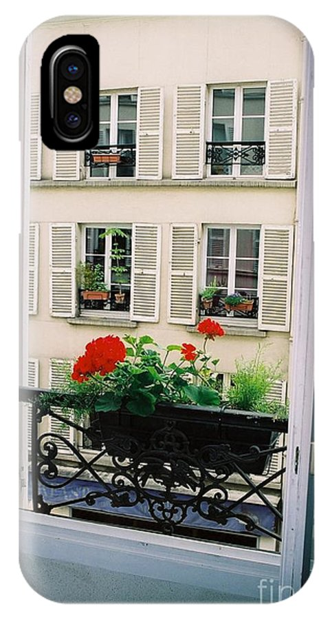 Window IPhone X Case featuring the photograph Paris Day Windowbox by Nadine Rippelmeyer